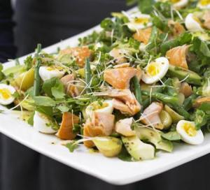 Image for Hot-smoked Salmon, cress and potato salad platter